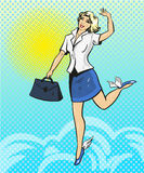 Vector pop art illustration of happy businesswoman. Vector illustration of flying in the sky beautiful businesswoman. Happy woman in retro pop art comic style Stock Photography