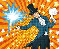 Vector pop art illustration of magician performing trick. Vector illustration of magician performing trick. Illusions magic show or circus show design element in Royalty Free Stock Images