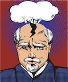 Vector pop art illustration of man having splitting headache Stock Image