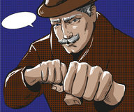 Vector pop art illustration of man with punching fists. Vector illustration of senior grey-haired man wearing coat and hat. Businessman ready to strike with the Stock Photo