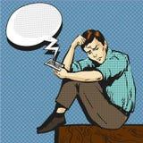 Vector pop art illustration of man talking on the phone. Vector illustration of sad man talking on the phone, speech bubble. Upset man in retro pop art comic Royalty Free Stock Photo