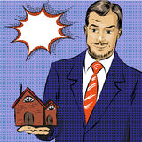 Vector pop art illustration of real estate agent Royalty Free Stock Photos