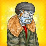 Vector pop art illustration of robot, android in fashion jacket. Artificial intelligence, steampunk, cyborg concept. Vector pop art illustration of robot royalty free illustration