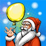 Vector pop art illustration of Santa Claus in red costume Stock Image