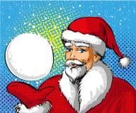 Vector pop art illustration of Santa Claus showing snowball Stock Image