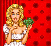 Vector pop art illustration of a sexy girl holding her finger on her lips and asking for silence. Vector pop art illustration of a sexy girl with money in hand Stock Photos