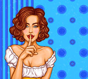 Vector pop art illustration of a sexy girl holding her finger on her lips and asking for silence. Quiet, do not tell anyone. Excellent advertising poster for Stock Image