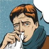 Vector pop art illustration of sick man Royalty Free Stock Images