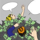 Vector pop art illustration of sinking in money people stock illustration