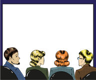 Vector pop art illustration of spectators in first row. Vector illustration of group of people spectators. Listeners sitting back in first row in retro pop art Royalty Free Stock Image
