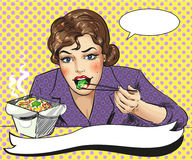 Vector pop art illustration of woman eating takeout food Stock Images
