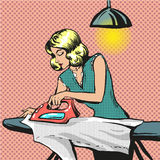 Vector pop art illustration of woman ironing clothes Royalty Free Stock Photo