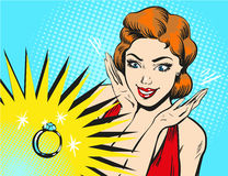 Vector pop art illustration of woman looking at engagement ring Royalty Free Stock Images