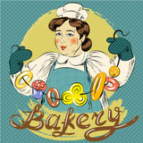 Vector pop art illustration of woman with pastry. Vector illustration of woman with bundle of bagel and other pastry. Bakery concept, retro pop art comic style Stock Images
