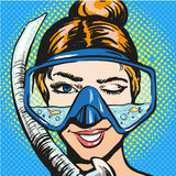 Vector pop art illustration of woman in scuba diving equipment Royalty Free Stock Photography