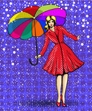 Vector pop art illustration of young beautiful woman with umbrella Stock Image