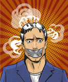 Vector pop art illustration of young man with taped mouth Royalty Free Stock Image