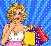 Vector pop art illustration of a young happy girl holding shopping bags. Royalty Free Stock Photo