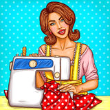 Vector pop art illustration of a young woman dressmaker sewing on a sewing machine. Small business. Dressmaker in the workplace, needlework, hobby-sewing Stock Photography