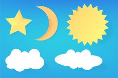 Free Vector Pop Art Paper Cut Of Star Moon Star And Cloud With Soft Shadow Royalty Free Stock Image - 125024336