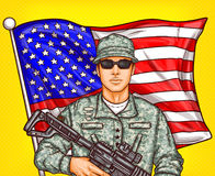 Vector pop art patriotic illustration a male soldier with arms in hands Royalty Free Stock Photos