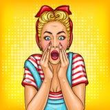 Vector pop art pin up girl shocked, surprised Stock Photos