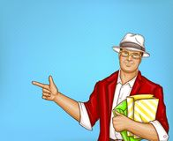 Vector pop art fat man with shopping bags. Vector pop art pretty fat man with shopping bags. Obese handsome character in suit, red jacket, white hat, glasses Stock Image