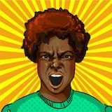 Vector pop art screaming aggressive african american woman. Vector illustration of screaming aggressive african american woman in retro pop art comic style vector illustration