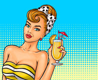 Vector pop art sexy girl. With a cocktail in hand Stock Image