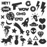 Vector Pop Art Silhouette Stickers Set