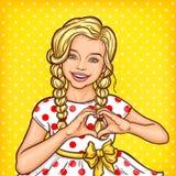 Vector pop art smiling little girl showing heart sign. Vector pop art illustration of a smiling little girl showing heart sign Royalty Free Stock Photo