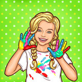 Vector pop art smiling little girl showing palms smeared with paint. Vector pop art illustration of a smiling little girl showing palms smeared with paint Stock Image
