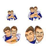 Vector pop art social network user avatars of gay men couple embracing and unbutton shirt. Retro sketch profile icons. Vector pop art avatars for social network Stock Photo