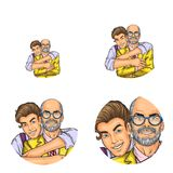 Vector pop art social network user avatars of grandfather and grandson embracing. Boy embrace adult man retro sketch. Vector pop art avatars for social network Stock Photography