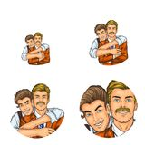 Vector pop art social network user avatars of son boy embracing father man retro sketch profile icons. Vector pop art avatars for social network chat user Stock Photo