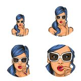Vector pop art social network user avatars of woman girl surprised with blue hair in sunglasses. Retro sketch profile. Vector pop art avatars for social network Stock Photos