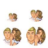 Vector pop art social network user avatars of woman speaking whisper in man ear. Retro sketch profile icons. Vector pop art avatars for social network chat user Stock Photo