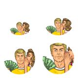 Vector pop art social network user avatars of woman whispering in man ear holding dollars. Retro sketch profile icons Royalty Free Stock Photo