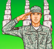 Vector pop art soldier render military salute on the background of rows of grave stones with national flags Stock Photography