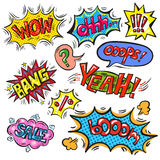 Vector pop art speech bubble set with abbreviations and signs. Vector vintage pop art comic speech and explosion bubble set with the most used words and Royalty Free Stock Image