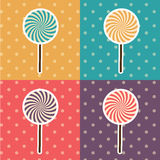 Vector Pop Art Style Lolipop Set Illustration Royalty-vrije Stock Afbeelding