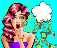 Free Vector Pop Art Surprised Beautiful Pin-up Girl Thinking About Money Stock Photos - 110528743