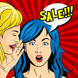 Vector pop art surprised woman face with open mouth Royalty Free Stock Photo