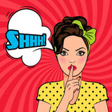 Vector pop art woman asking for silence Royalty Free Stock Photo