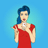 Vector pop art woman face with open mouth holding a phone Royalty Free Stock Images