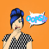 Vector pop art woman face with open mouth Stock Photos