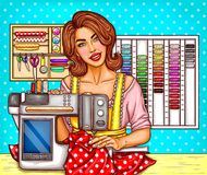 Vector pop art woman tailor sews on a modern sewing-machine with display. Seamstress, dressmaker, atelier illustration. Vector pop art woman tailor sews on a Stock Image