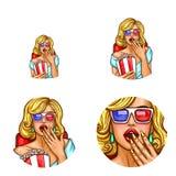 Vector Pop-Arten-Avatara, Ikone des Stiftes herauf sexy Mädchen in den Gläsern 3d innerhalb des Kinos mit Popcorn, Soda Logo für  Stockfoto
