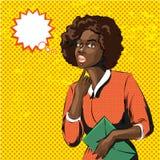 Vector Pop-Arten-Illustration der afrikanischen Frau mit dem gelockten Haar stock abbildung