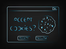 Vector pop-up with message Accept cookie Royalty Free Stock Image